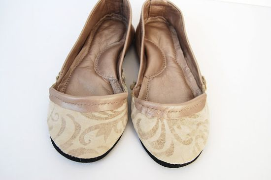 Handmade rose bronze damask leather ballet flat by Erinbonnie, €90.00