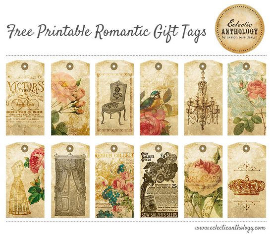 Free Printable Romantic Gift Tags Collage Sheet-vintage, free, printable, tag, romantic, rose, bird, card, gift, chandelier, dress form, crown, paper