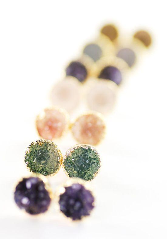 A'ia'i earrings - gold druzy stud earrings, gold druzy post earrings, www.kealohajewelr... maui, hawaii
