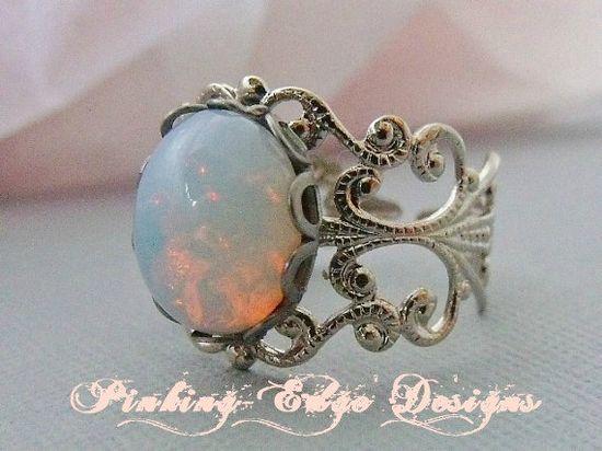 Filigree White Glass Opal Ring
