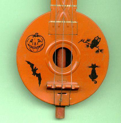 Vintage Halloween Tin Banjo