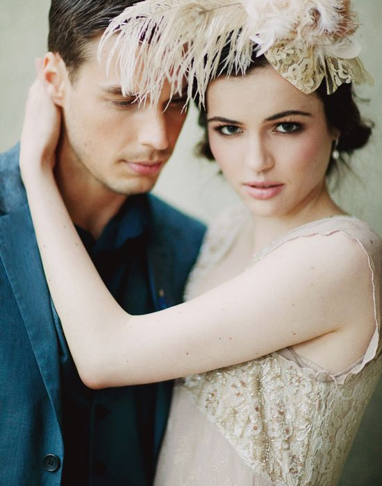 feather hat 1920's wedding ruche bridal