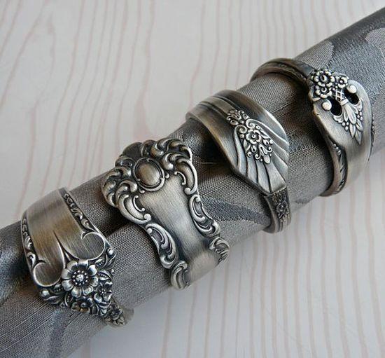 repurposed silverware napkin rings