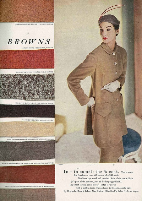 Autumn's palette served up 1953 style. #fabric #vintage #fashion #1950s