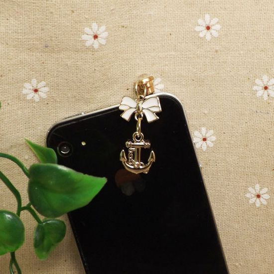 Golden Bowknot Boat Anchor 7 Colors Gem Dust Plug 3.5mm Phone Dust Stopper Earphone Cap Headphone Jack Charm for iPhone 4 4S HTC Samsung