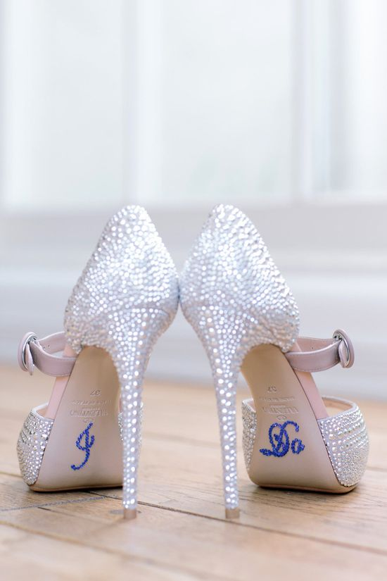 "Silver wedding shoes with ""something blue"""