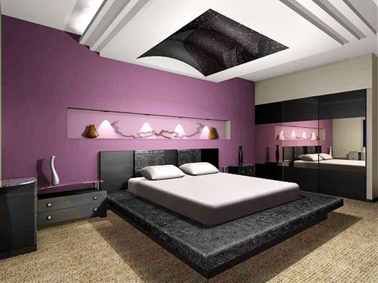 Black White and Purple Bedroom Design Ideas