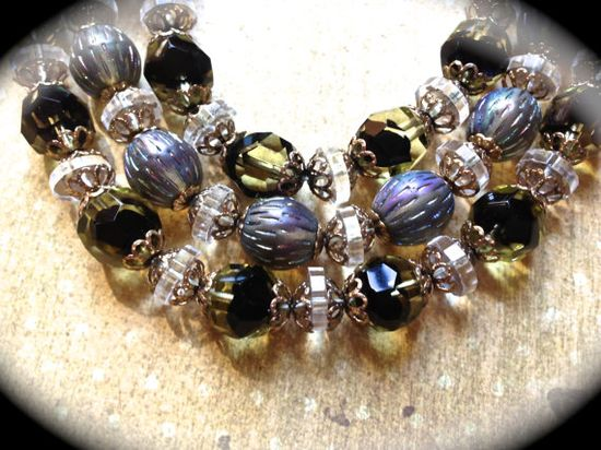 Gorgeous triple strand dichroic beaded by JNPVintageJewelry, $135.00