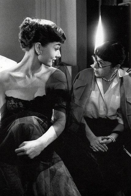 Audrey Hepburn and the great costume designer of her era, Edith Head, 1953