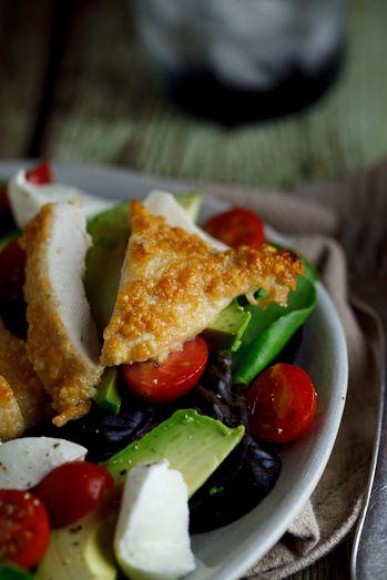 Pecorino crumbed chicken salad. #lowcarb #carbfree #chicken #salad #healthy #recipe