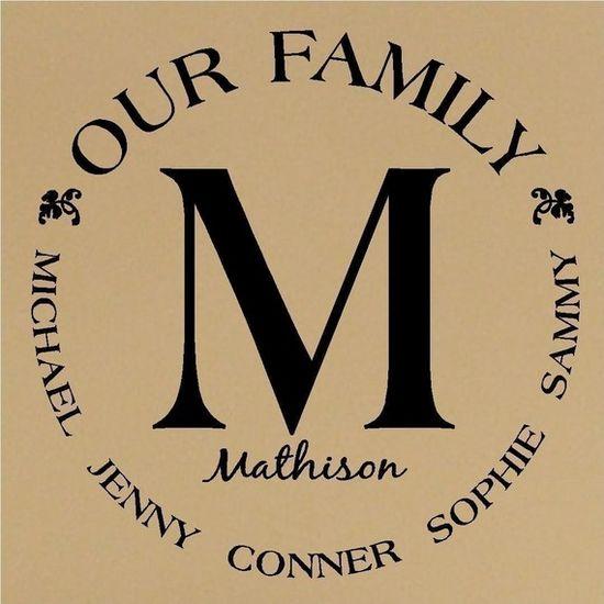 family vinyl monogram