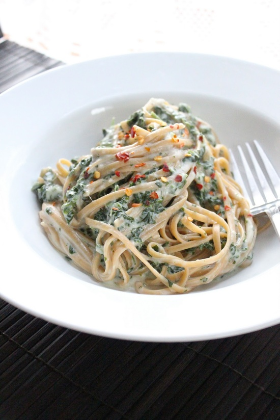 Skinny Fettuccine alfredo with spinach.