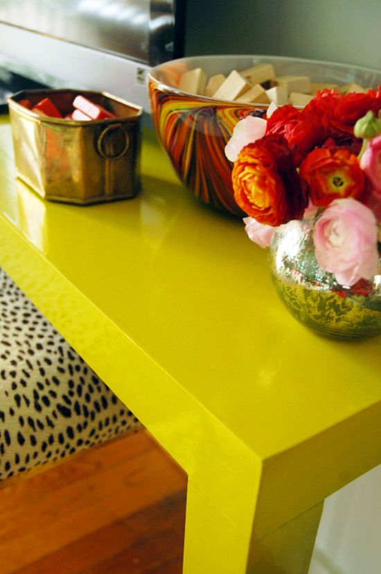 Get Porch & Floor paint mixed to any color and voila, you've got oil-based lacquer in WHATEVER SHADE YOU WANT! This beats the Rust-oleum choices from Lowe's. (via Little Green Notebook: How to Strip Vintage Furniture)