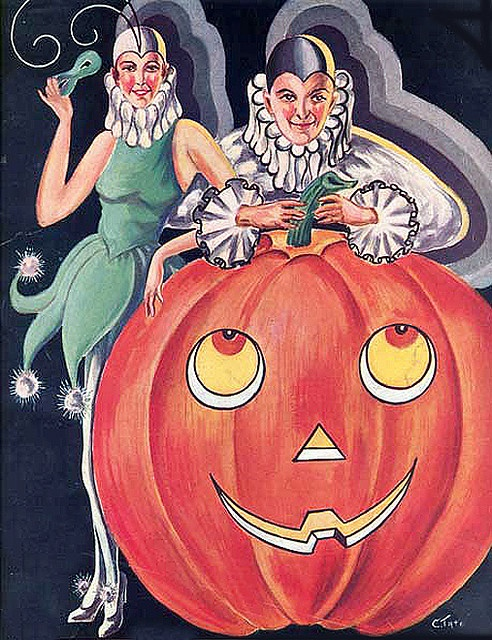 Delightful flapper era Halloween fun! #1920s #costume #illustration #art #twenties #flappers #girl #vintage #retro #Halloween #pumpkin