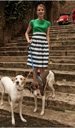 Kelly Green Top with Navy Striped Skirt Bottom Dress  Borrowed from the boys, sailor stripes are oh-so en vogue, and the Gondola dress is a prime specimen. A springy green, capped-sleeve top tucks into the wide-cinched waist, and a full circle skirt drops just below the knee.  This fresh summery take on the perfect vintage silhouette pairs perfectly with espadrilles and a sun hat, or a scarf and Fellini-esque sunglasses.   summer dress, fall dress, summer dresses, fall dresses, tight dress, sunday dress, party dresses, special occasion dresses, homecoming dresses, spring dresses, women's dresses, easter dresses, party dresses, women's dress, casual dress, casual dresses,