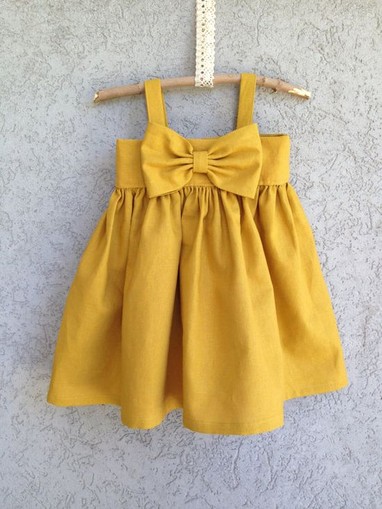 Mustard Yellow Big Bow Dress, Baby and Toddler Girl dress,