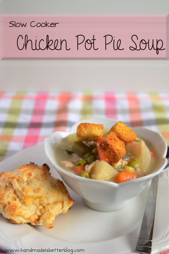 Slow Cooker Chicken Pot Pie Soup on MyRecipeMagic.com #slowcooker #crockpot #chicken #pot #pie