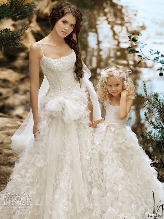 Romantic Wedding Dress with matching flower girl dress