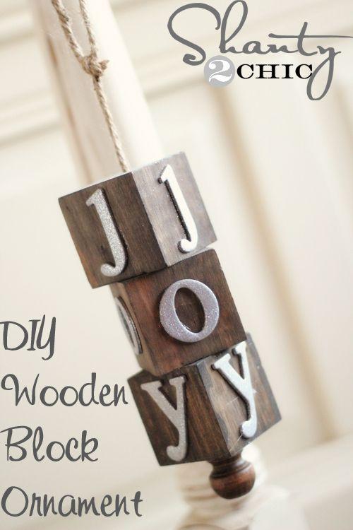 DIY Wooden Block Ornament at www.shanty-2-chic...
