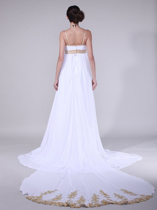 Golden Strapped Empire Waist Wedding Gown