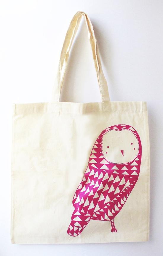{pink owl screenprint tote} $12