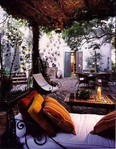 Jewel tones outdoor courtyard space