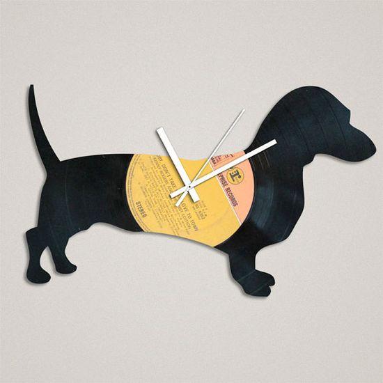 Handmade Recycled Retro Record Clock Dachshund