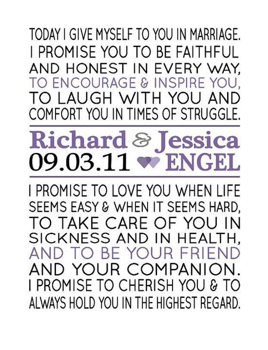 Wedding Vow Print. These vows are so sweet