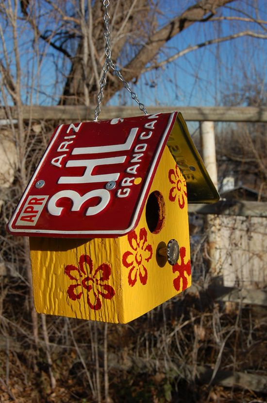 Birdhouse  Dark Red Arizona License Plate Roof  by PotterybyDan, $33.00