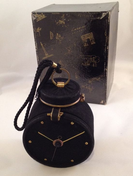 50s French Lederer Paris  Doe Skin Clock Compact Purse True Vintage