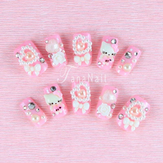 sweet Hello Kitty 3d nail art, japanese style manicure pink nails with pearls rhinestones and accents