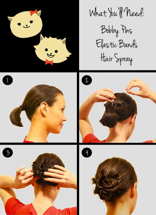 Cute bun for short hair