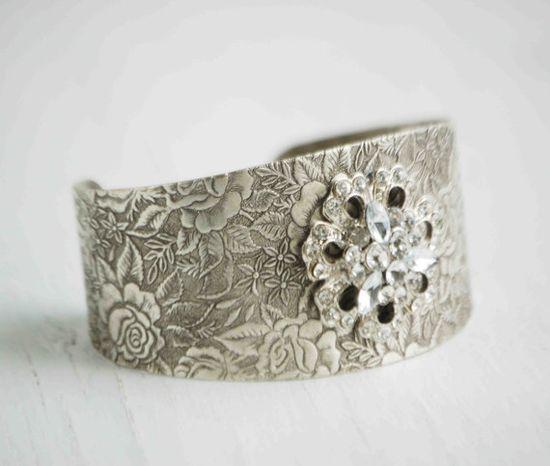 Rhinestone ROSE Cuff BRACELET Wedding ROMANTIC by redtruckdesigns