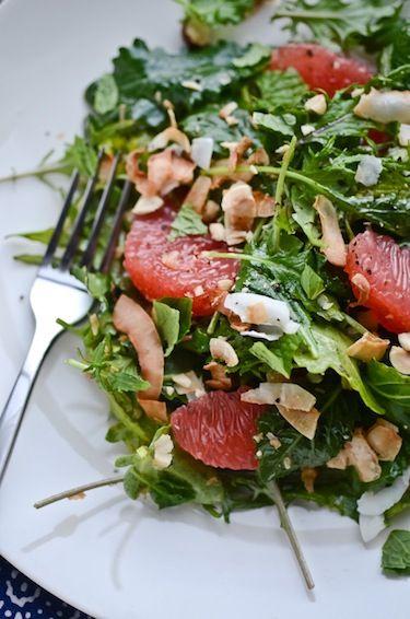 so wintery. kale, grapefruit, coconut salad.