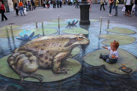 Frog Meets Baby 3D chalk art
