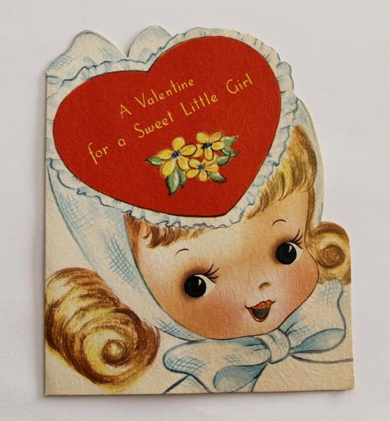 Vintage Valentine Card Little Girl