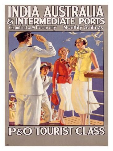 Vintage Travel Poster - P Shipping - India , Australia