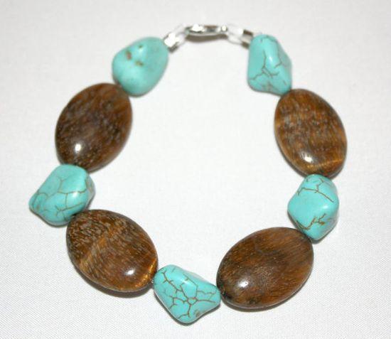Bohemian Turquoise Nugget Bracelet with Brown by SoJewelrySoYou, $12.00 #boho #bohemian #jewelry #bracelet #turquoise #Etsy #style #fashion