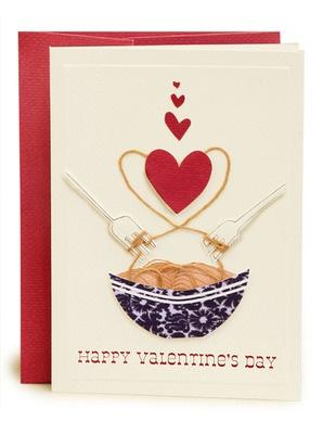Handmade Valentine Card, Spaghetti