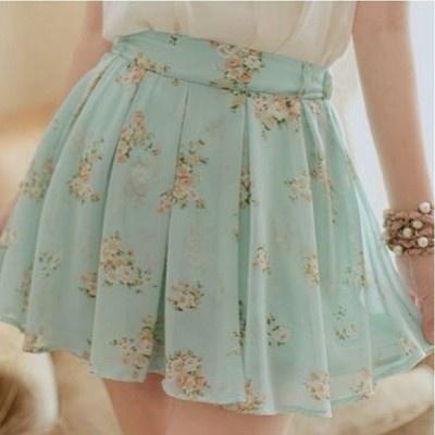 mint floral Skirt