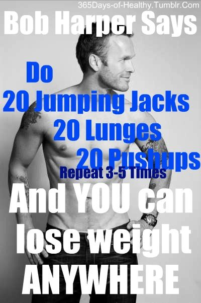 REPEAT 3X: 20 Jumping Jacks + 20 Lunges + 20 Push Ups