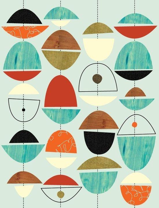 Awesome #print #midcentury #retro #blue #decor #art #orange #illustration