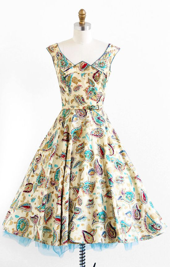 vintage 1950s painted gold + teal party dress
