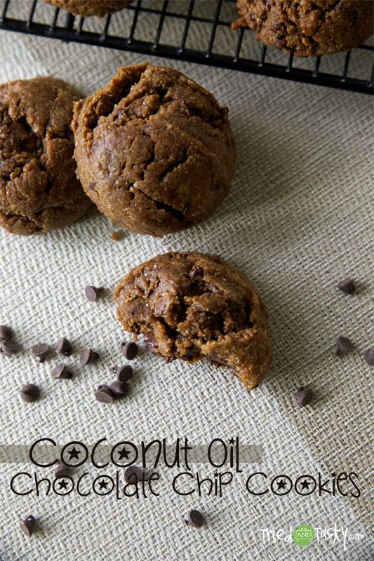 Coconut Oil Chocolate Chip Cookies // TriedandTasty