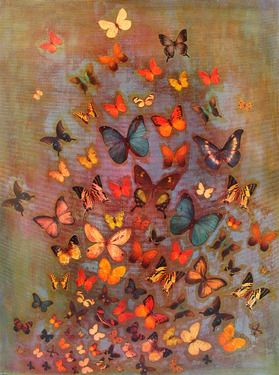 "Saatchi Online Artist Lily Greenwood; Mixed Media, ""Heather Butterflies"""