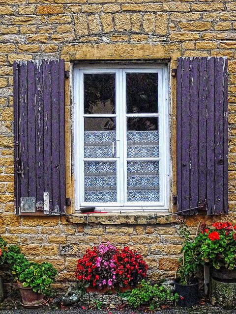 Countryside window and flowers, Rhone, France  (rePinned 082513TLK)