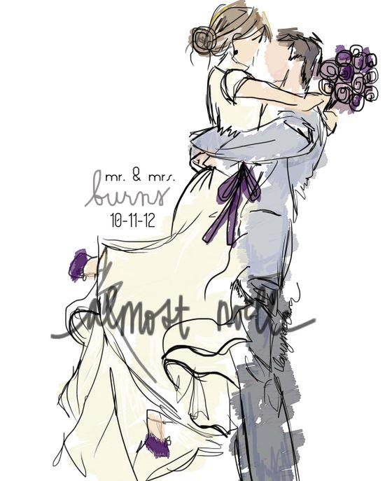 wedding photo turned artistic illustration. $35.00, via Etsy.