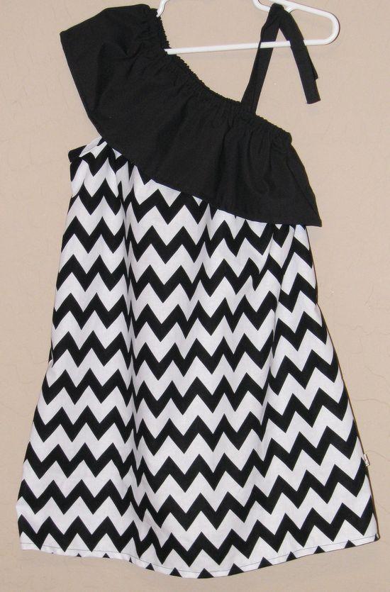 Ruffled One Shoulder Chevron Dress - Baby Toddler Girl Designer Cotton Dress - Black White Zig Zag - Perfect for Summer Back to School. $35.00, via Etsy.
