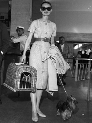 Audrey Hepburn and Mr. Famous at the airport.  I adore that vintage dog carrier.