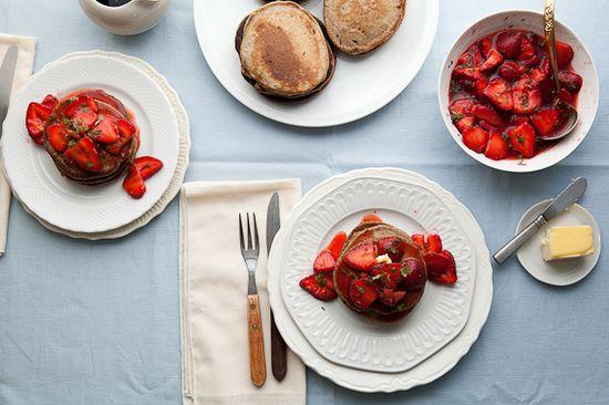 Lemon Buckwheat Pancakes With Strawberries and Mint